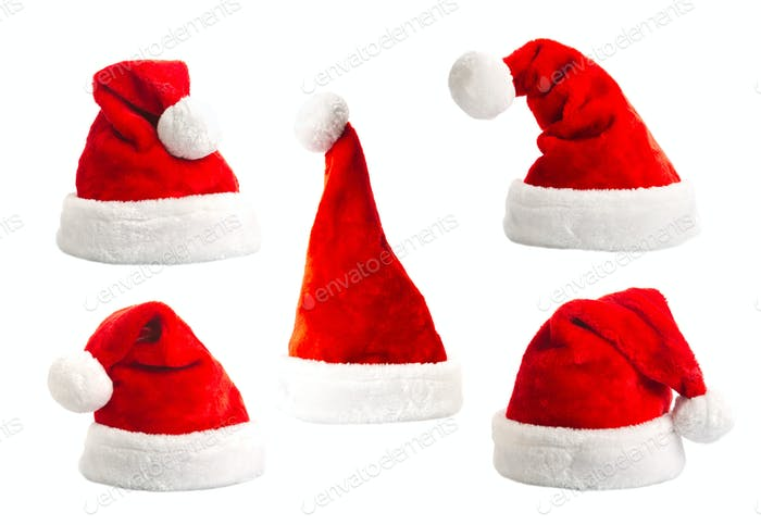 Set santa hat isolated