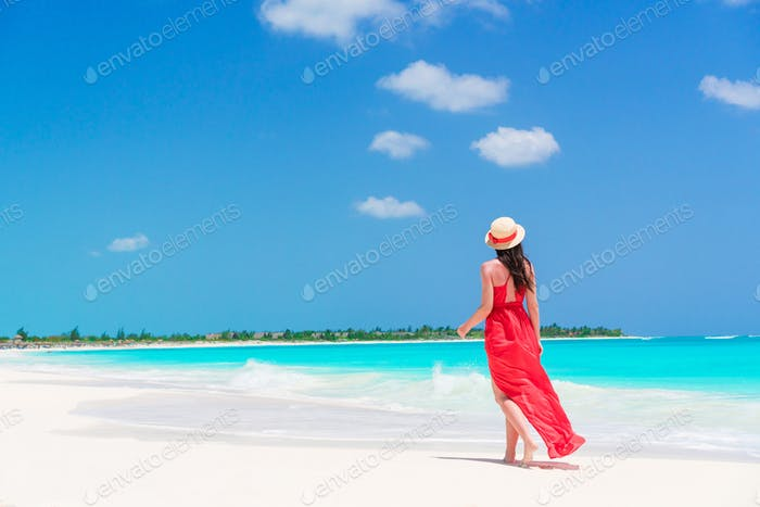 Young beautiful woman on tropical seashore. Back view of young girl in red dress background the sea
