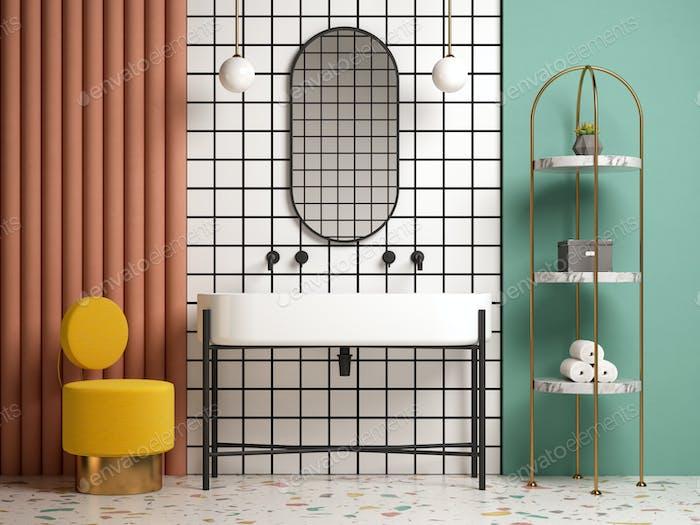Memphis style conceptual interior bathroom 3d illustration