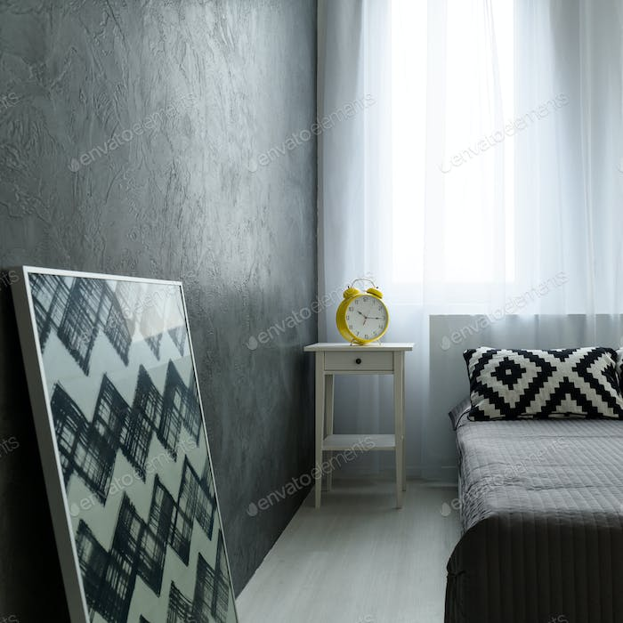 Bedroom with gray wall
