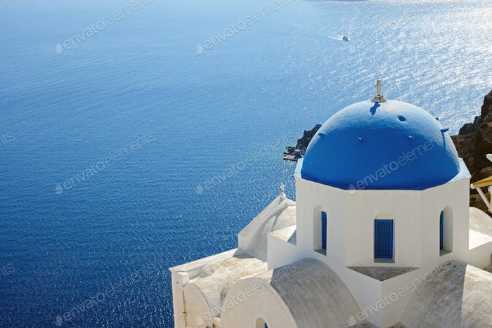 Church with blue cupola in Oia