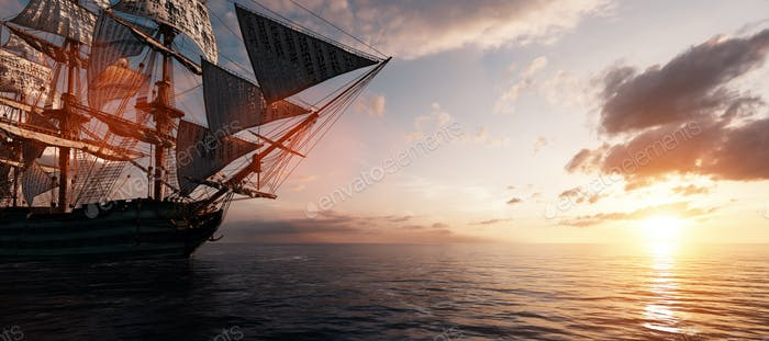 Pirate ship sailing on the ocean at sunset