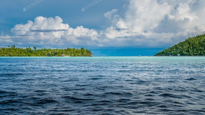Strait between Kri and Monsuar Island. Raja Ampat, Indonesia, West Papua