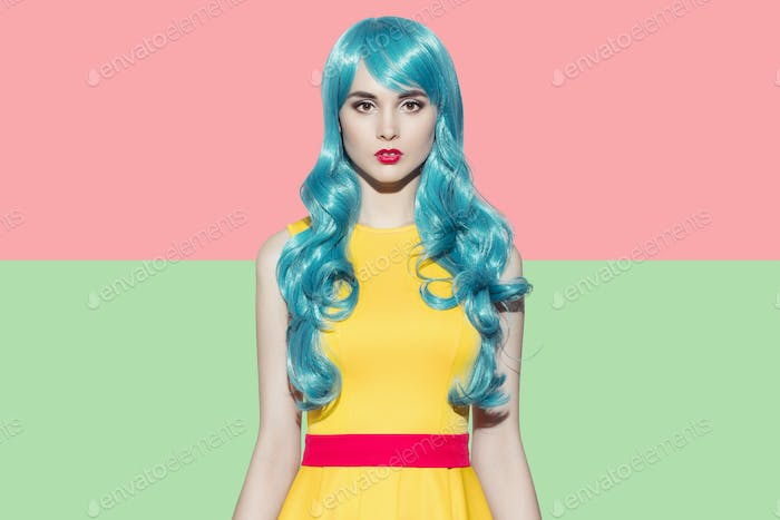 Pop Art Woman Portrait Wearing Blue Curly Wig And Yellow Dress