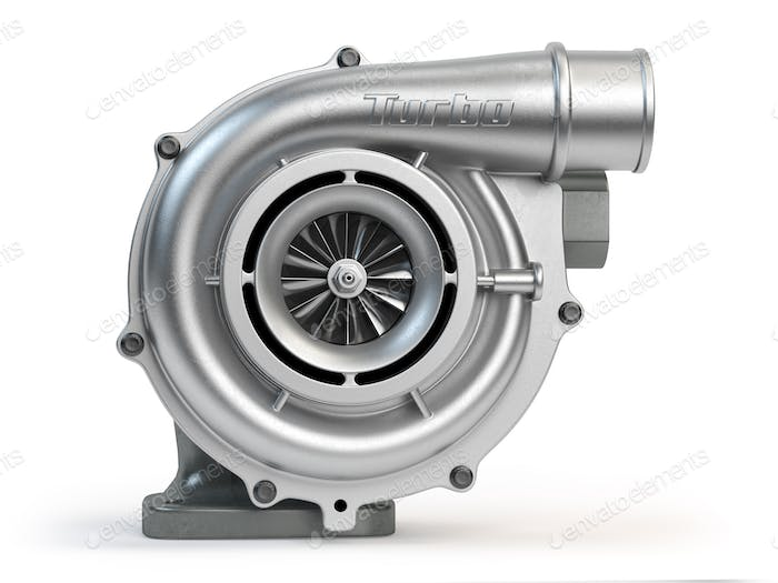 Car turbocharger isolated on white background. Turbo engine.