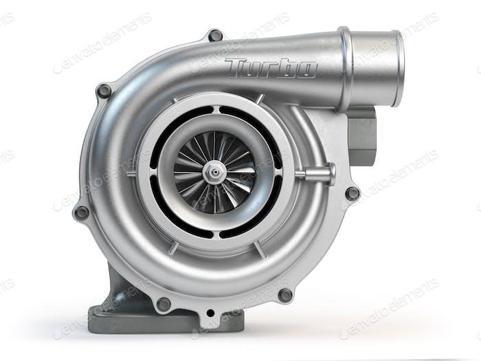 Auto-Turbolader isoliert auf weißem Hintergrund. Turbomotor.