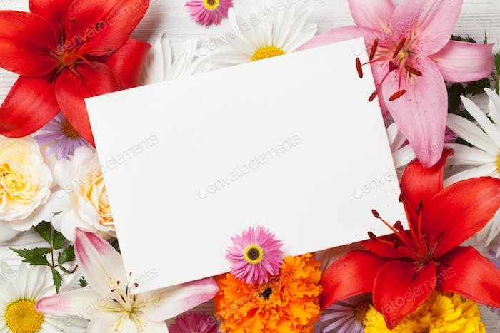 Garden flowers and greeting card