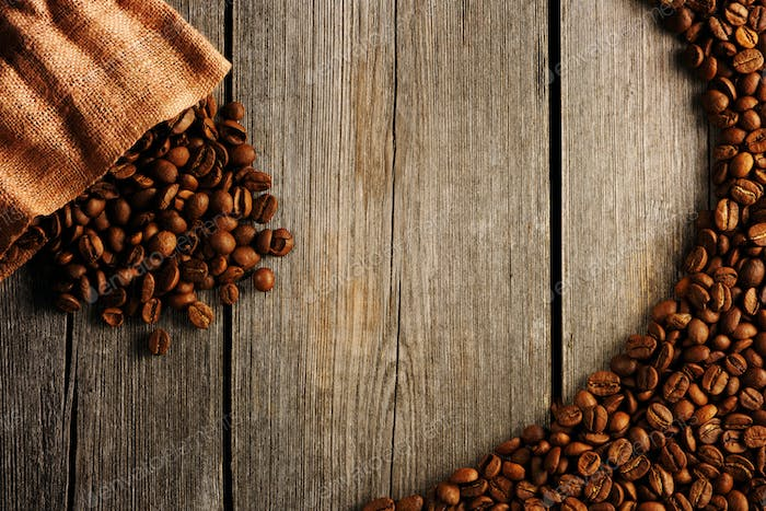 Coffee beans and bag background
