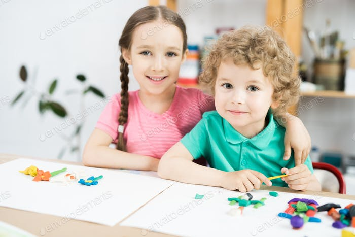 Cute Little Children in Craft Class