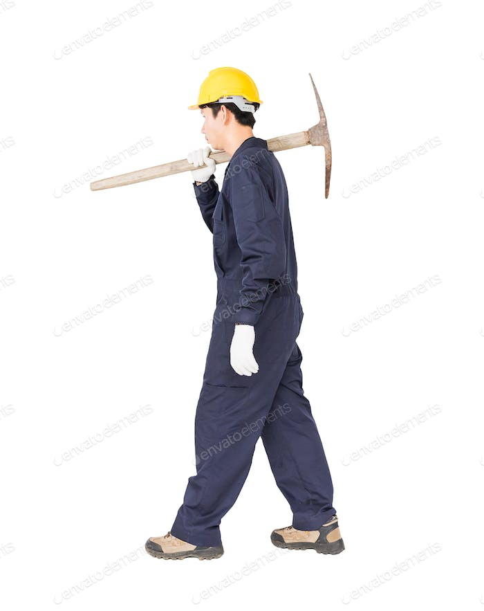 Man in uniform hold pick mattock_-13