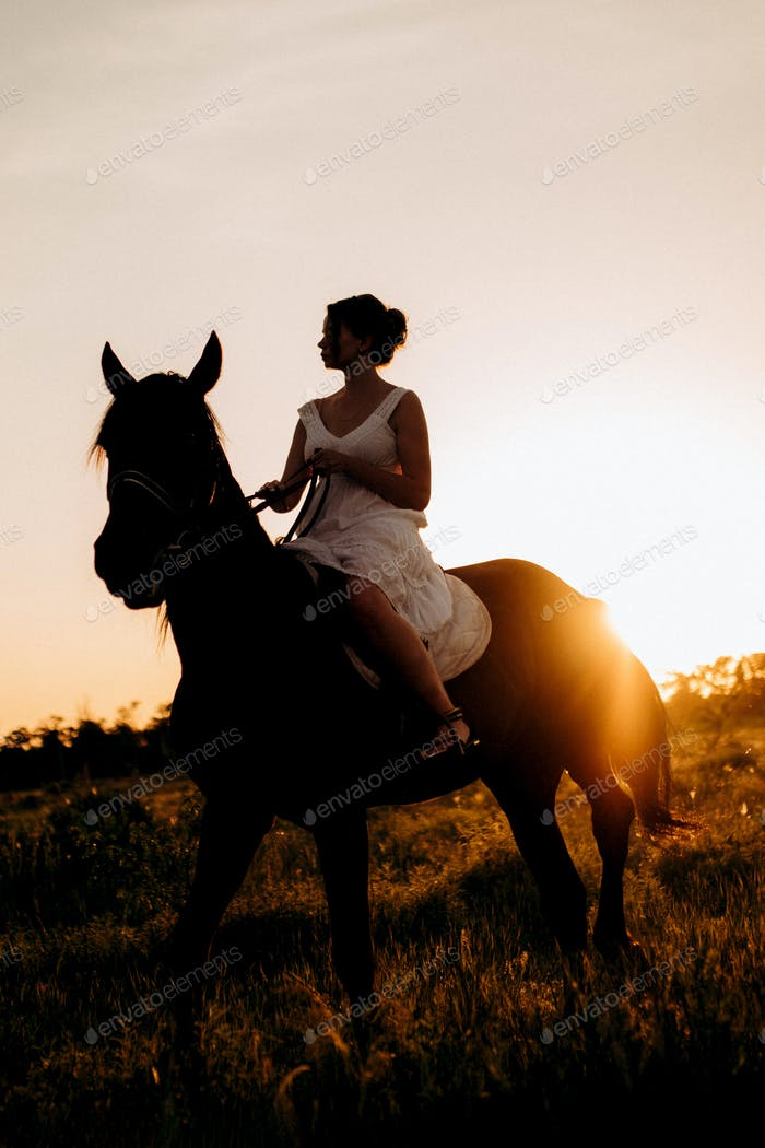 girl in a white sundress on a walk with brown horses