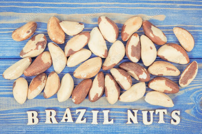 Vintage photo, Inscription brazil nuts and fruits containing natural minerals and vitamin