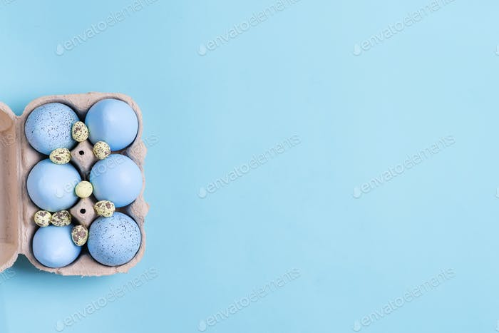 Festive Easter frame from paper box of handmade blue painted eggs on a blue color background