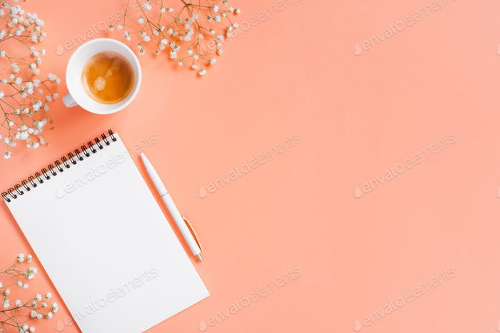 Tender Pink Background With Keyboard and Coffee