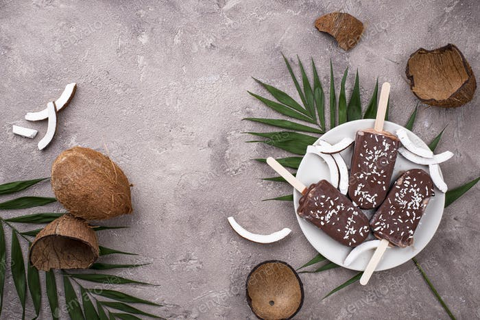Coconut popsicles in chocolate glaze