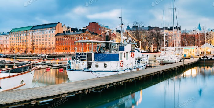 Helsinki, Finland. Pleasure Boat In Evening Illumination At The