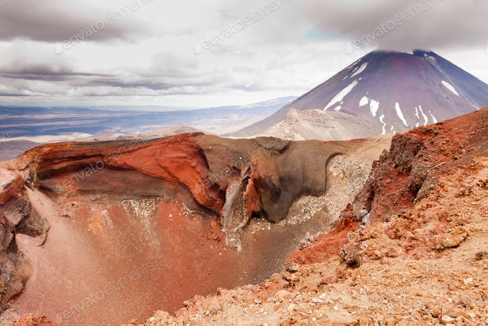 Active volcanoe cone of Mt Ngauruhoe New Zealand