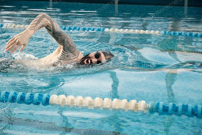 Swimming stroke in pool