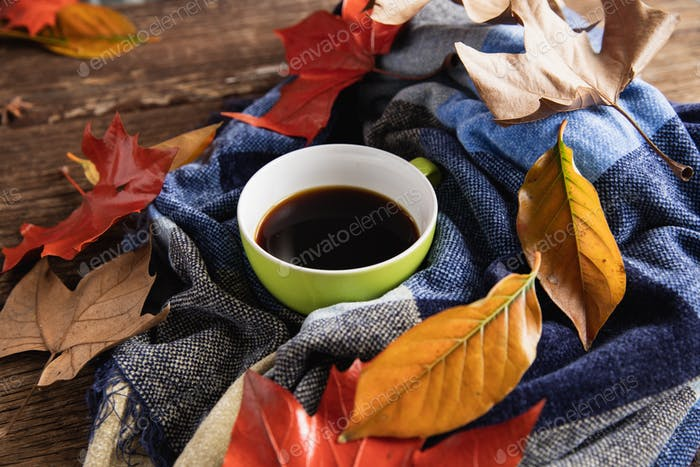 Autumn flat lay with coffee cup