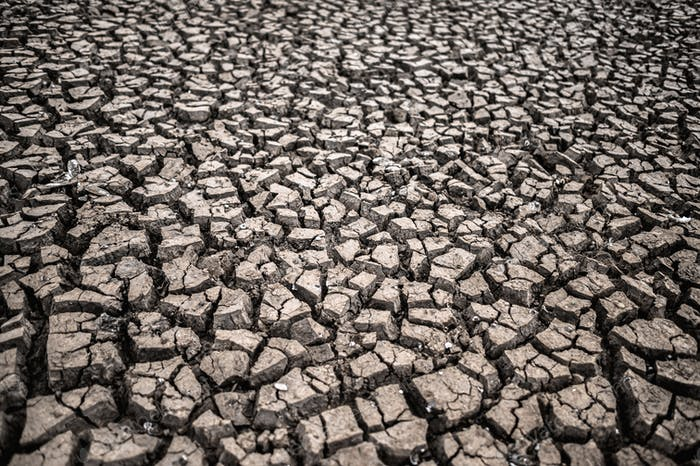 Arid land with dry and cracked ground,global warming