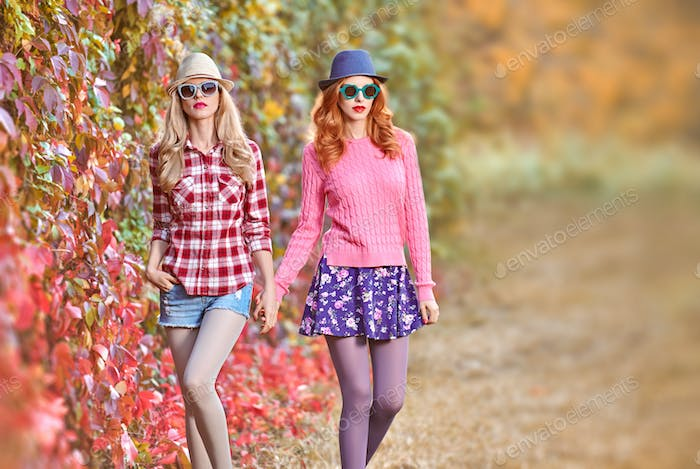 Fashion Girl, Stylish Autumn Outfit.Nature Outdoor