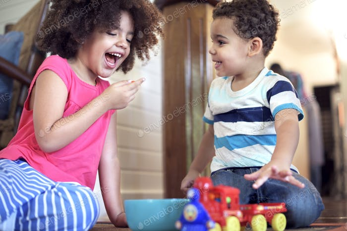 Afican Kids Play Togetherness Cheerful Concept