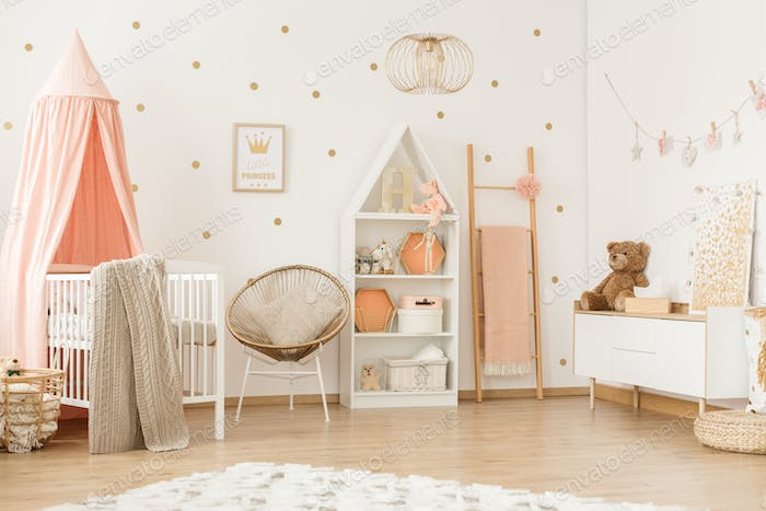 Pastel girly bedroom interior