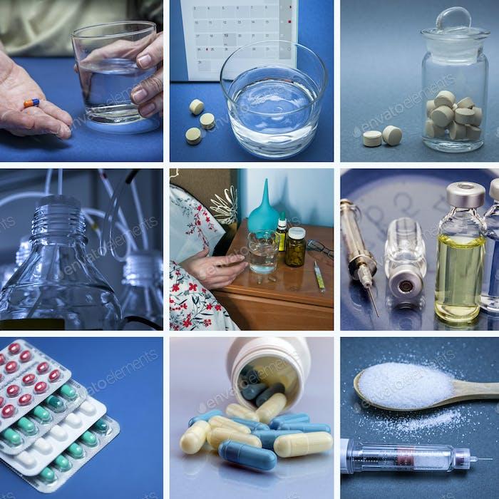 Pills collage. Medicine and health.