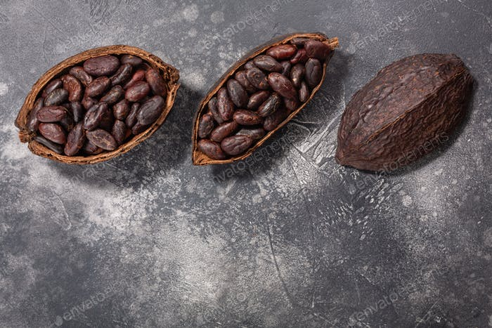Split fermented cocoa pod with shelled cacao beans atop grey, top view, copy space