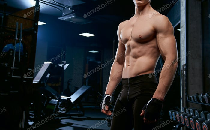 Thumbnail for Incognito shirtless sportsman posing in gym