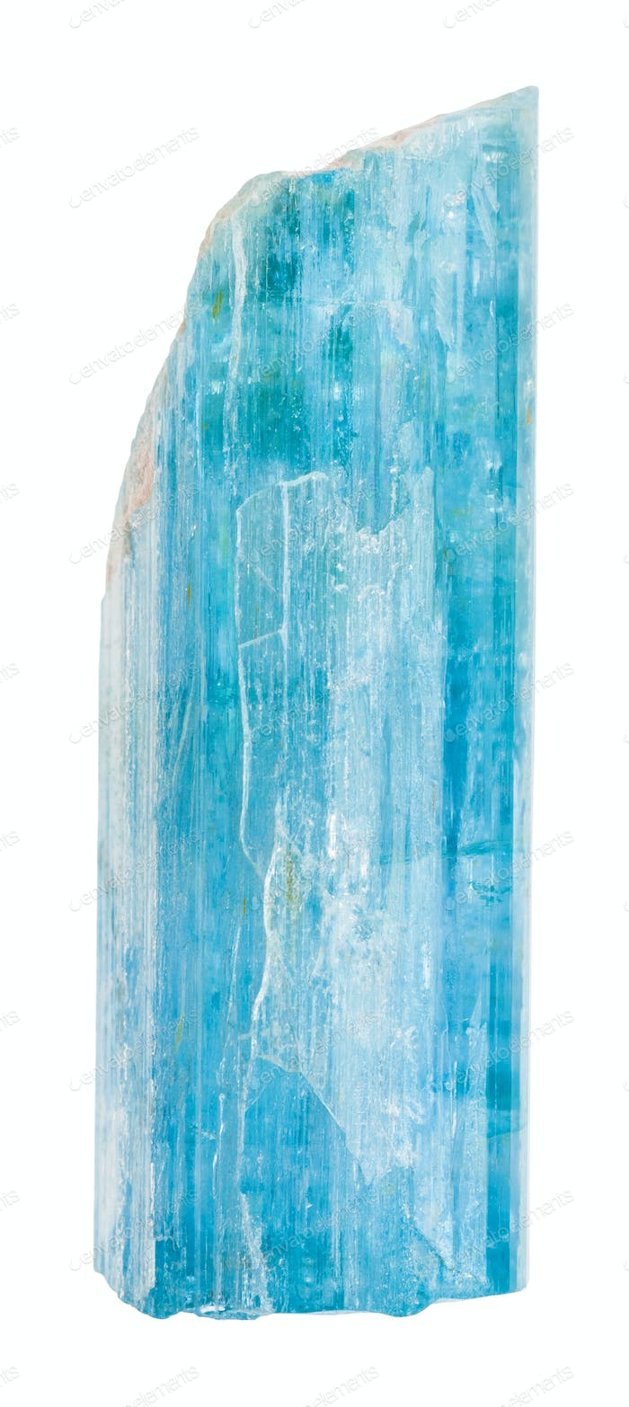 raw Aquamarine (blue beryl) crystal isolated
