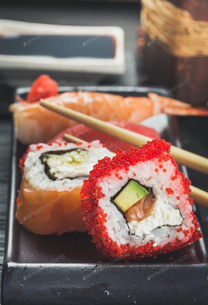 Close-up shot of sushi rolls