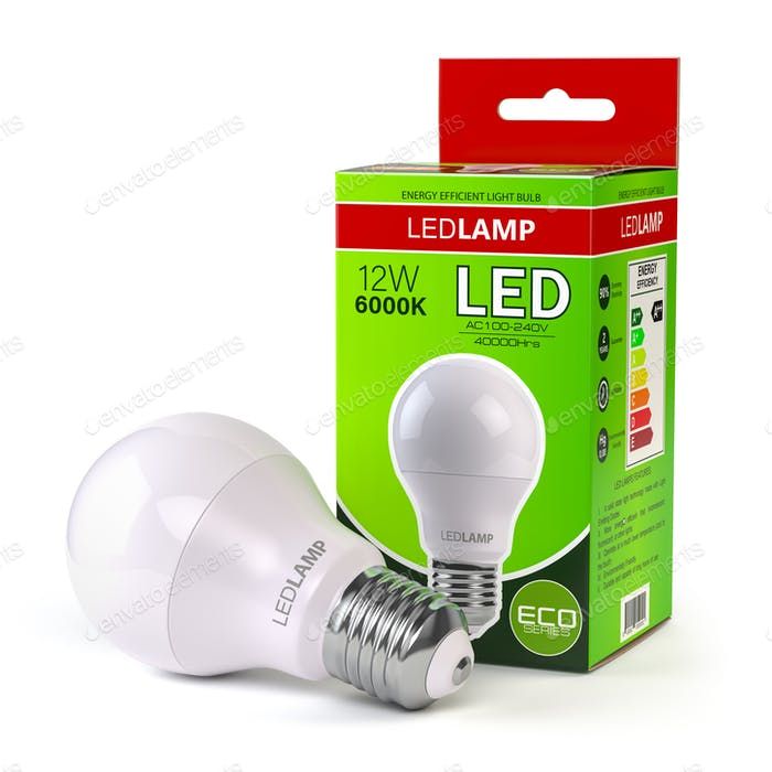 Lámpara led con caja de paquete aislada sobre blanco. Bombilla de bajo consumo.