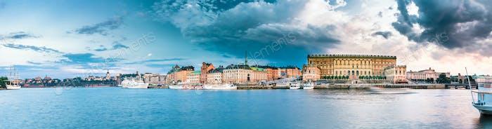 Embankment In Old Part Of Stockholm At Summer Evening, Sweden. P