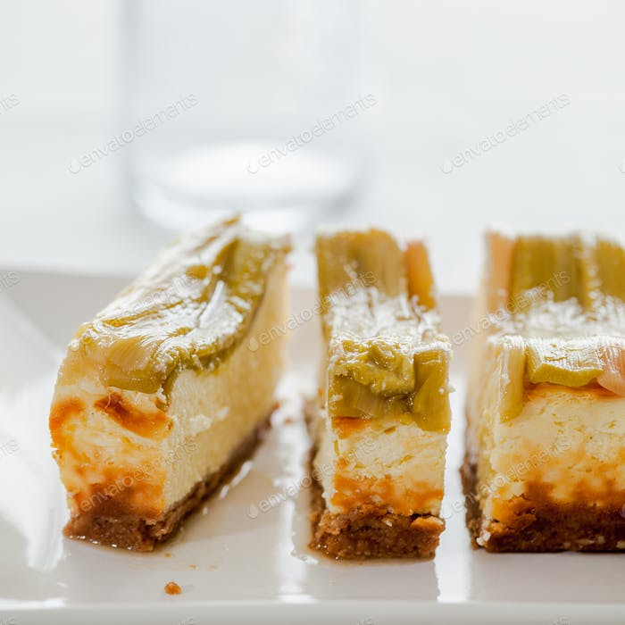Homemade delicious rhubarb cheesecake - better than from bakery