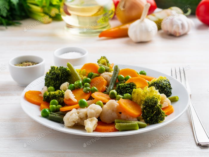 Mix of boiled vegetables, steam vegetables for dietary low-calorie diet