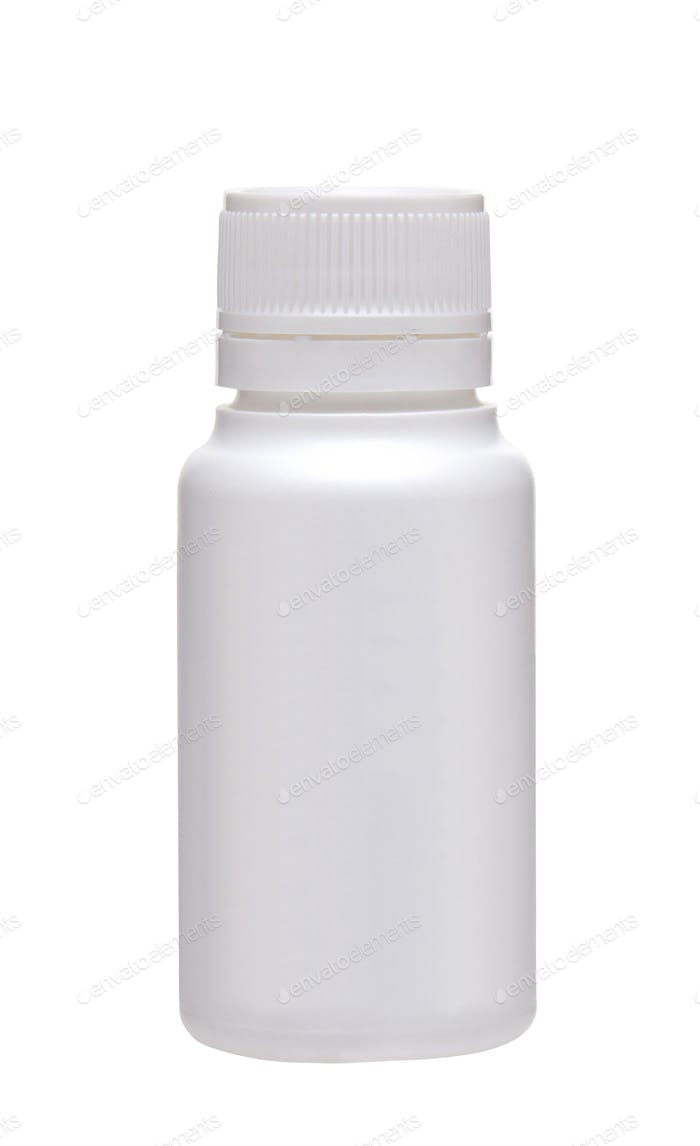 Medical bottle on white background