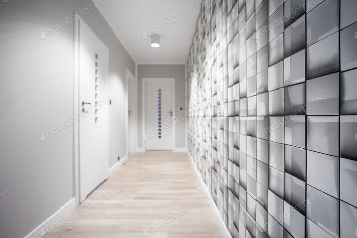 Geometric wallpaper in hallway