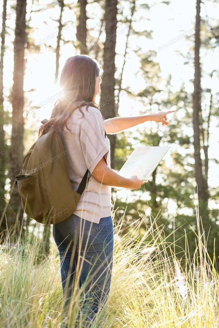 Brunette hiker with map pointing far away in the nature