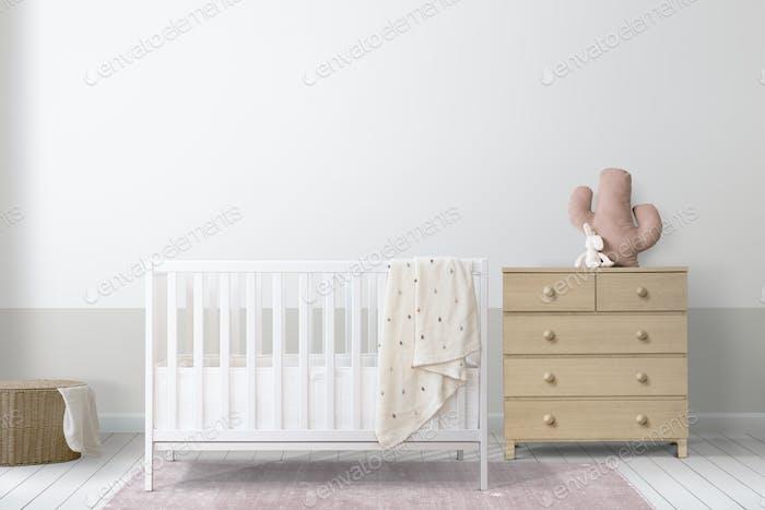 White crib in a minimal nursery room