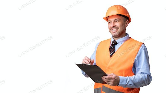Builder Holding Folder Taking Notes Looking Aside Over White Background