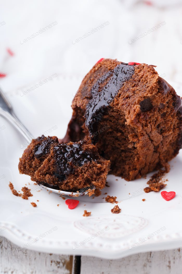 Chocolate cake with chocolate glaze holiday Valentine's day