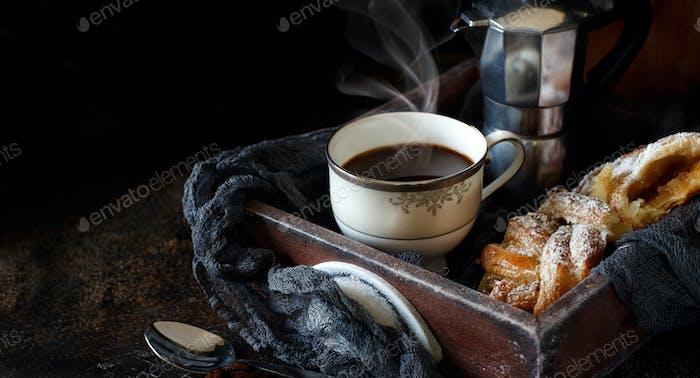 Italian coffee set for breakfast
