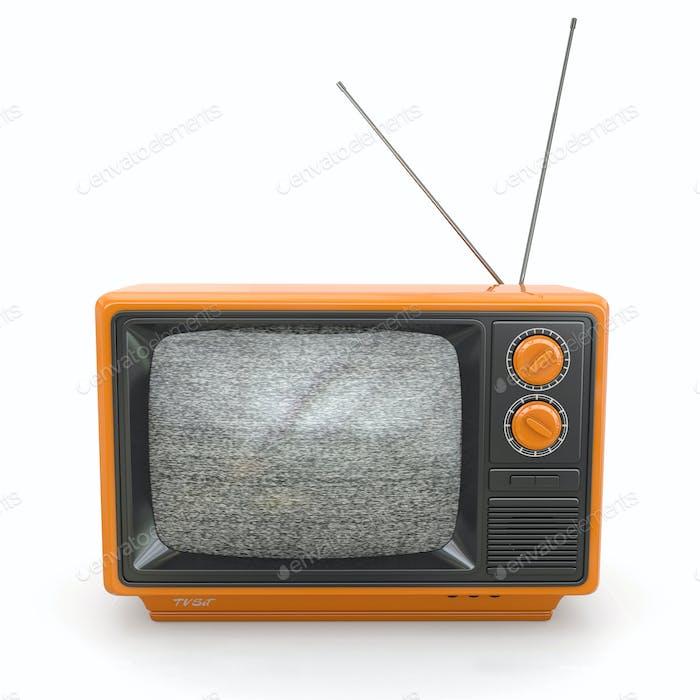 Vintage tv mit Lärmschutz. 3D