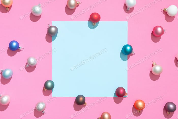 Creative Christmas baubles decoration pattern with paper card note