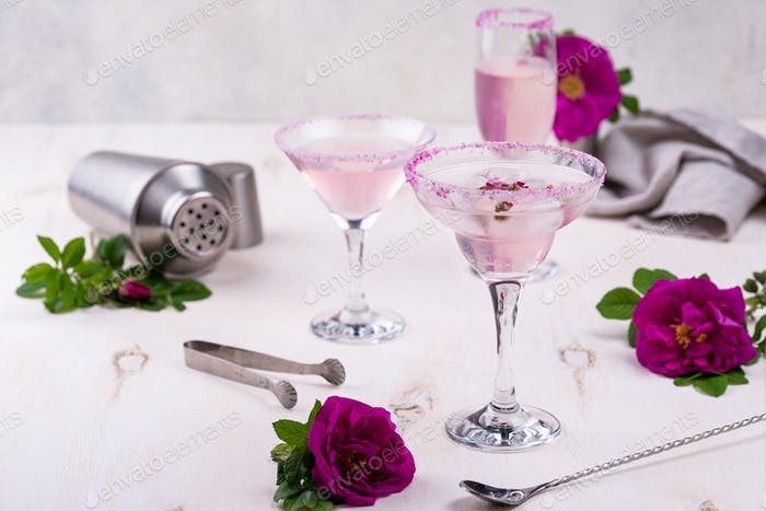 Assortment of pink cocktails with rose syrup