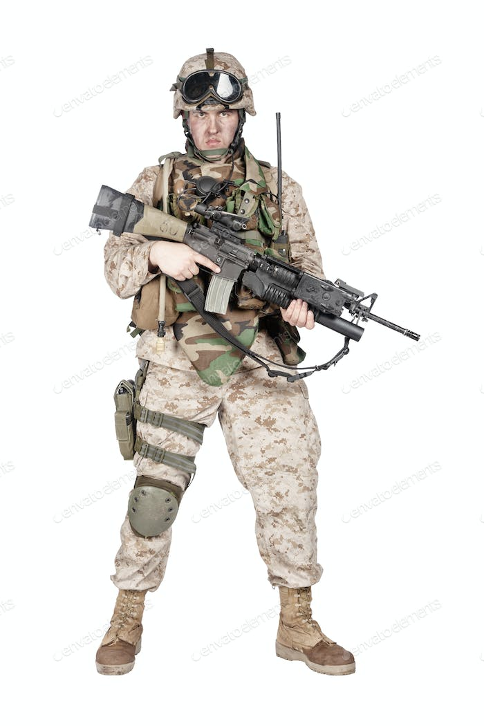 Equipped and armed U.S. Marine Corps rifleman