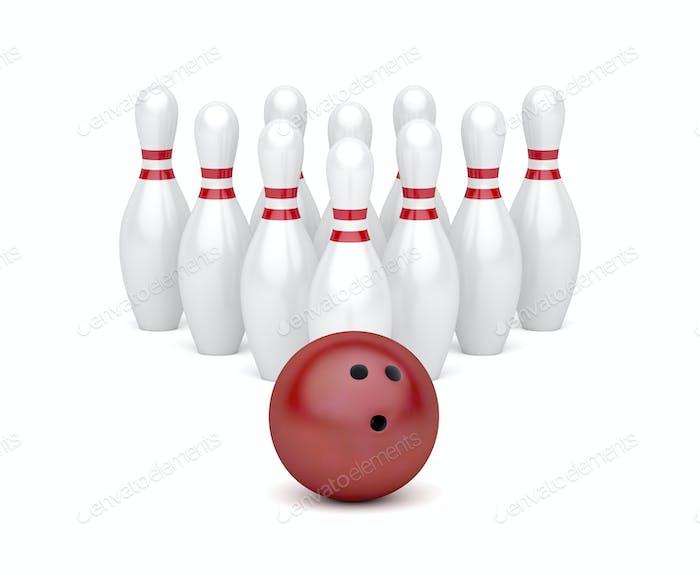 Bowlingball und zehn Pins