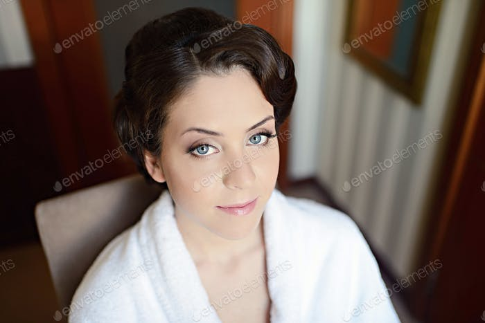 Female portrait of cute lady indoors