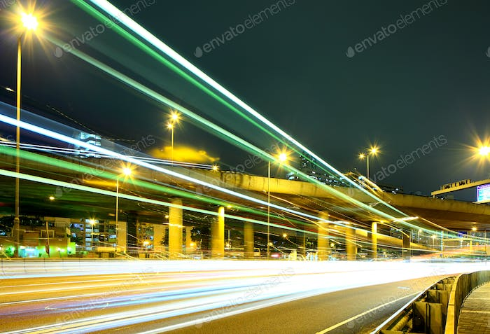 Highway with car light